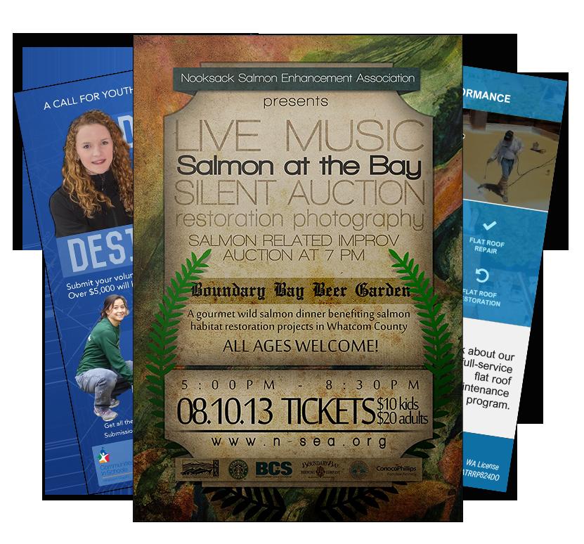 Advertisements - Nooksack Salmon Enhancement Association in Blellingham, Salmon at the Bay, Whatcom Volunteer Center & Flat Roof Pros