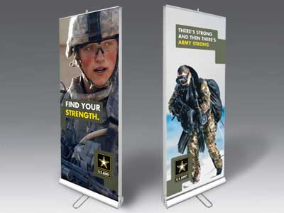 Double Sided Banner stands promoting US Army