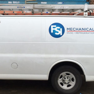A mechanical company's van showing a logo on the van