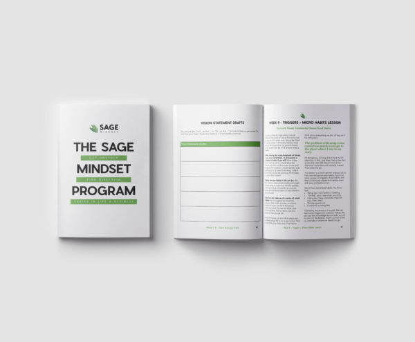 Mockup of a coaching course called The SAGE MINDSET PROGRAM
