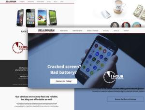 A screenshot of website pages from a phone repair company