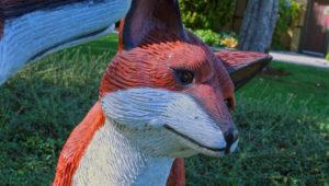 A closeup of a fox sculpture in Peace Arch STate Park