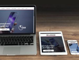 Screens of a website
