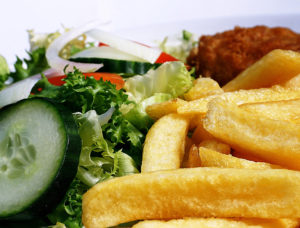 Closeup of fish and chips